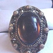 Vintage Czech Topaz Glass Brass Ring