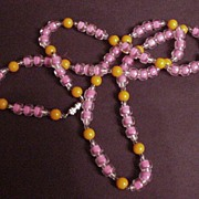 Vintage Venetian Glass Bead Necklace Orange and Pink