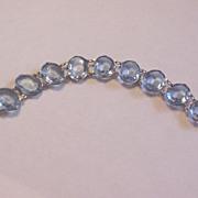 Vintage Czech Glass Bracelet Faux Blue Topaz