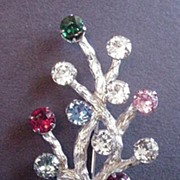 Vintage Sterling Silver Van Dell Rhinestone Tree Pin