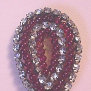 Earlier Ruby Red Glass and Rhinestone Dress Clip