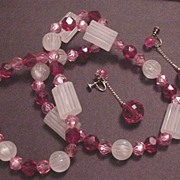 Vintage Clear Frosted with Red and  Pink Prystal Necklace
