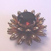 Unusual Vintage Amber Rhinestone Marvella Flower Pin