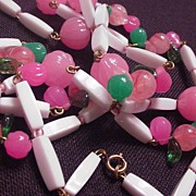 Vintage Pink and Green Fruit Necklace