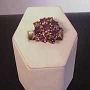 Vintage Purple Rhinestone Cluster Ring