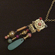 Vintage Ethnic Necklace Pink Blue Red and Purple Rhinestones
