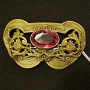 Art Nouveau Brass and Pink Glass Sash Pin