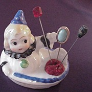 Very Vintage Pierrot Pin Cushion with three Pins