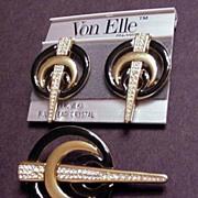 Swarovski Crystal and Black Enamel Pin and Earrings Set