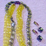 Olivine and Citrine Colors Necklace and Earrings