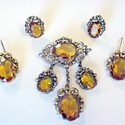 SALE Victorian Revival Topaz Glass Pin Earrings and Fur Clip Set