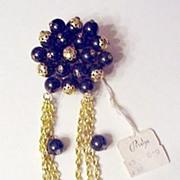 Long Dangle Black Bead Pin made in Austria