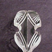 Clear Lucite Plastic Reverse Carved Hat Pin