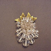 Earlier Vintage Miriam Haskell Clear Glass & Brass Dress Clip