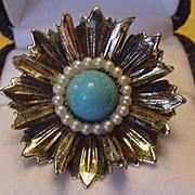 Vintage Faux Turquoise Flower Burst Ring