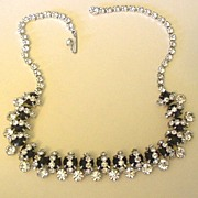 Flashy!  Black and Clears Rhinestone Necklace