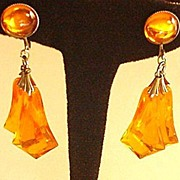 Sweet Orange Lucite Drops Earrings