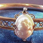 SALE Victorian Cameo and Seed Pearl Bracelet
