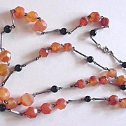 Carnelian and Polished Black Onyx Necklace Sterling Silver
