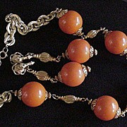 Vintage Hobe Orange Necklace and Earrings
