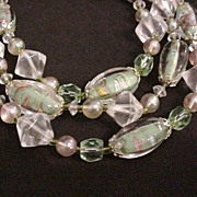 SALE Sommerso Green Venetian Glass Beads Necklace