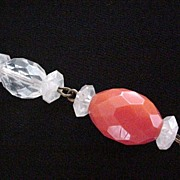 Long Strand of Orange and Clear Beads