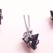 Smokey Rhinestone Necklace and Earrings