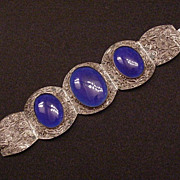 Superb Chinese Import Filigree & Cobalt Glass Bracelet