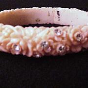 Rhinestone Studded Pink Celluloid Bracelet
