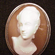 High Relief Shell Cameo Pin Pendant Necklace