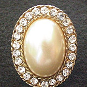 Large Faux Pearl and Rhinestone ring
