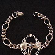 Mid Century Rhinestone Floral Bracelet