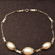 Superb Vintage Brass and Large Glass Pearls Necklace
