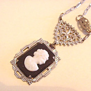 Art Deco Black Glass Cameo Necklace