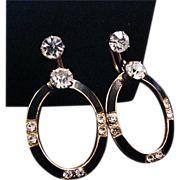 Art Deco Black Enamel and Rhinestone Earrings Fabulous