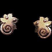 Matisse Copper and Gold Enamel Earrings