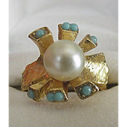 Asymmetrical Faux Turquoise Cocktail Ring
