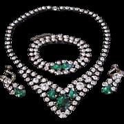 Vintage Green Rhinestone Necklace, Bracelet and Earrings