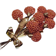 Five Inch Coral Celluloid Bouquet Pin