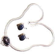 SALE Sterling Silver and Midnight Stone Necklace and Earrings