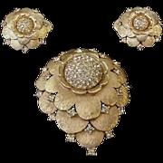 Mid Century Jomaz Rhinestone Pin and Earrings