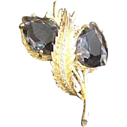 Smokey Quartz Rhinestone Pin