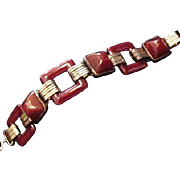 Art Deco Carnelian Glass Bracelet
