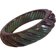 Emerald Green Lucite Bangle Bracelet