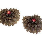 Pair of Brass and Rhinestone Dress Clips