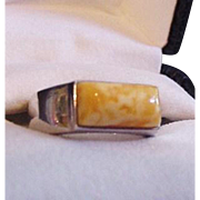 Sterling and Amber Ring