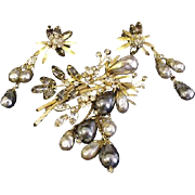 Vendome Rhinestone Pin and Earrings