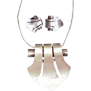 Art Deco Sterling Silver Necklace and Earrings