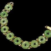Vintage Art Deco Style Green Glass Bracelet