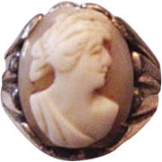 Mid Century Sterling Silver Cameo Ring